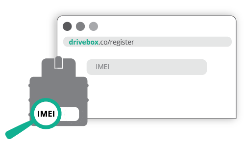 Enter device's IMEI number on drivebox.co/register
